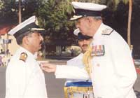 Capt. Rajesh Sarin being awarded Nao Sena Medal Gallantry