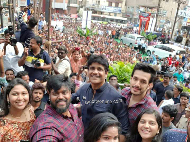 Nagarjuna and Akhil came to Vizag for the 1st anniversary of a shopping mall