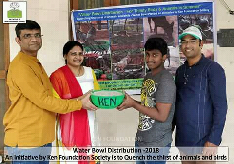 Ken Foundation Society distributed free water Bowls to Quench the thirst of animals and birds in summer