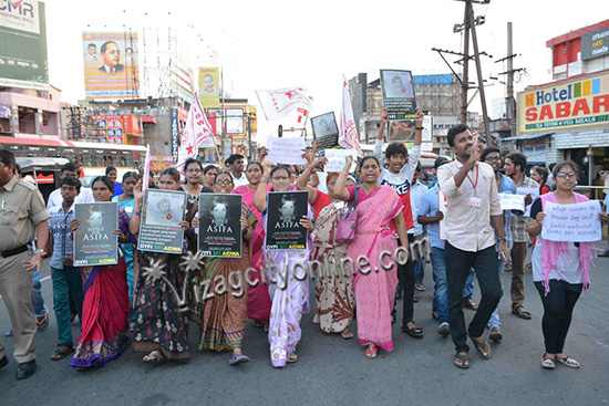 AIDWA PROTEST AGAINST THE GHASTLY RAPE AND MURDER OF ASIFA on 13th April at Jagadamba Junction
